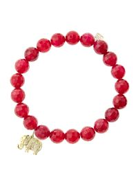Sydney Evan | 8Mm Faceted Red Agate Beaded Bracelet With 14K Gold/Diamond Small Elephant Charm (Made To Order) | Lyst