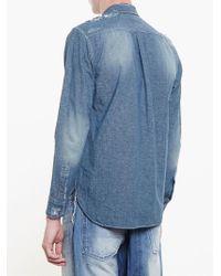 Miharayasuhiro - Blue Floral Patch Denim Shirt for Men - Lyst