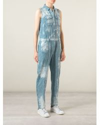 Sea - Blue Stripped Blotchy Denim Jumpsuit - Lyst