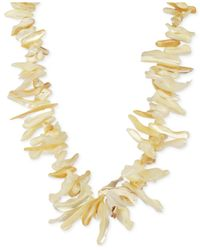 Macy's | Metallic Mother Of Pearl Graduated Shell Necklace In 14k Gold-plated Sterling Silver (12-42mm) | Lyst