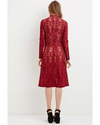 Forever 21 - Red Lace Mock-neck Midi Dress - Lyst