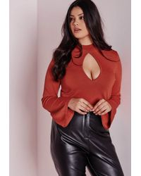 Missguided - Brown Plus Size Peep Hole Crop Jumper Rust - Lyst