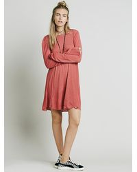 Free People - Red Long Sleeve Swing Dress - Lyst