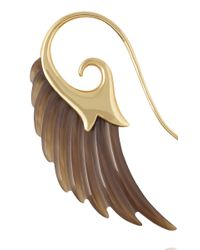 Noor Fares - Brown Wing Earrings with Yellow Gold and Horn - Lyst