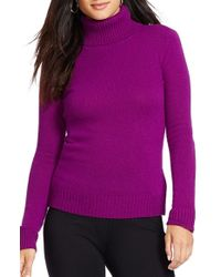Lauren by Ralph Lauren | Purple Wool & Cashmere Turtleneck Sweater | Lyst