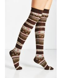 Urban Outfitters | Brown Funky Fair Isle Over-the-knee Sock | Lyst