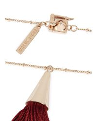 Eddie Borgo | Purple Rose Gold Tone Silk Tassle Necklace | Lyst