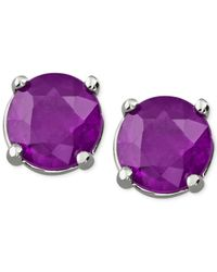 Macy's | Purple Amethyst Stud Earrings In 14k White Gold (3/4 Ct. T.w.) | Lyst