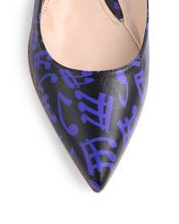 Miu Miu | Blue Music Noteprint Leather Ballet Flats | Lyst
