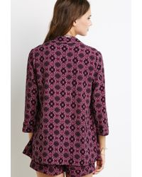 Forever 21 | Purple Ornate Floral Print Jacket | Lyst