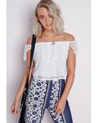 01fe70ee515e4 Missguided Bardot Lace Top White in White - Lyst