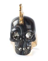 Alexander McQueen | Metallic Mohican Skull Ring | Lyst
