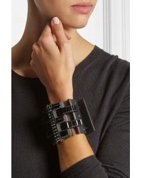 Lanvin | Leather, Blackened Pewter And Crystal Cuff | Lyst