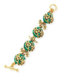 Oscar de la Renta | Green Resin Filigree Bracelet | Lyst