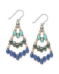 Lucky Brand - Metallic Goldtone Multicolor Stone Chandelier Earrings - Lyst