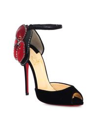 Christian Louboutin - Red Pensamoi Velour Pumps - Lyst