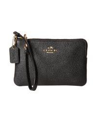 COACH | Black Embossed Txrd Leather Sm L-zip Wristlet | Lyst