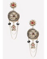 Bebe | Metallic Flower Statement Earrings | Lyst