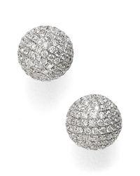 Bony Levy - White Large Diamond Pave Ball Stud Earrings - Lyst