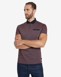 Ted Baker | Red Circle Print Polo Shirt for Men | Lyst