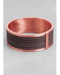 & Other Stories - Brown Leather and Brass Bangle - Lyst