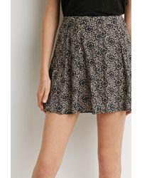 Forever 21 - Black Pleated Mosaic Print Skirt - Lyst