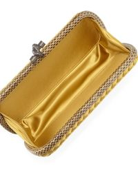 Bottega Veneta - Metallic Satin Elongated Knot Clutch Bag - Lyst