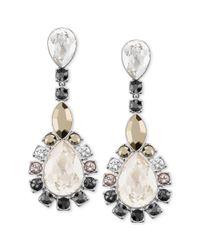 Swarovski - White Palladiumplated Multicrystal Statement Earrings - Lyst
