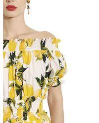 Dolce & Gabbana - Yellow Lemon Printed Cotton Poplin Dress - Lyst