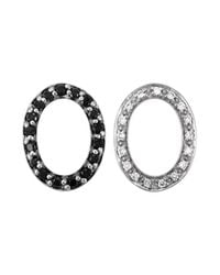 Charriol | Celtic Noir 18k White Gold And Black Stainless Steel Cable 0.71tcw Hoop Earrings | Lyst