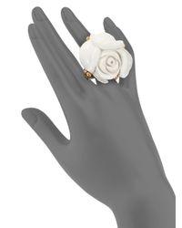 Oscar de la Renta - White Carved Rose Statement Ring - Lyst