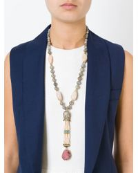 Katerina Psoma - Gray Beaded Pendant Necklace - Lyst
