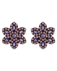 Betsey Johnson | Purple Panther Flower Button Earrings | Lyst