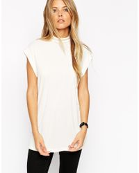 ASOS | Natural Longline Workwear Top With High Neck | Lyst