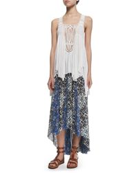 Free People - Blue Printed High-low Maxi Skirt - Lyst
