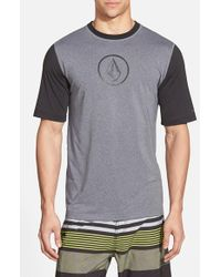 Volcom - Black 'Heather' Short Sleeve Rashguard for Men - Lyst