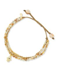 Tai - Metallic 3-strand Sand Beaded Bracelet With Hamsa Charm - Lyst