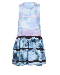 Victoria, Victoria Beckham - Purple Tier Print Ruffle Dress - Lyst