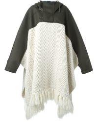Sacai - White Oversized Poncho Coat - Lyst