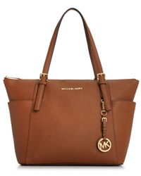 Michael Kors | Metallic Michael Jet Set East West Top Zip Tote | Lyst