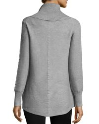 Neiman Marcus - Gray Cowl-neck Ribbed Sweater - Lyst