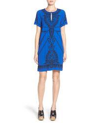 Lucky Brand Blue Embroidered Short Sleeve Shift Dress