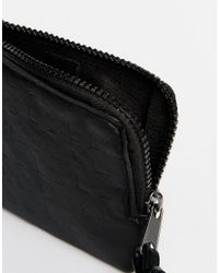 ASOS | Leather Zip Around Wallet With Embossed Suede - Black for Men | Lyst