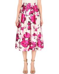 Oscar de la Renta | Purple Floral-print Silk Skirt | Lyst