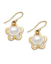 Macy's - Metallic Pearl Earrings, 14K Gold Cultured Freshwater Pearl Flower Drop Earrings - Lyst