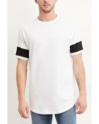 Forever 21 | White Colorblocked-sleeve Cotton Tee You've Been Added To The Waitlist for Men | Lyst