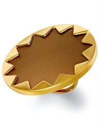 House of Harlow 1960 | Metallic Gold-Tone Khaki Leather Round Sunburst Ring | Lyst