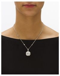 Palmbeach Jewelry - Metallic 5.45 Tcw Ascher-cut Cubic Zirconia Halo Hexagon Pendant Necklace In Platinum Over Sterling Silver - Lyst