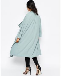 ASOS | Blue Duster Jacket With Waterfall Front | Lyst