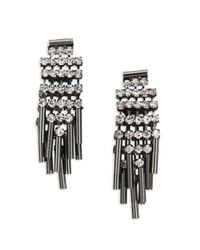 ABS By Allen Schwartz | Metallic Bitter Not Sweet Jewel Fringe Drop Earrings/gunmetal-tone | Lyst